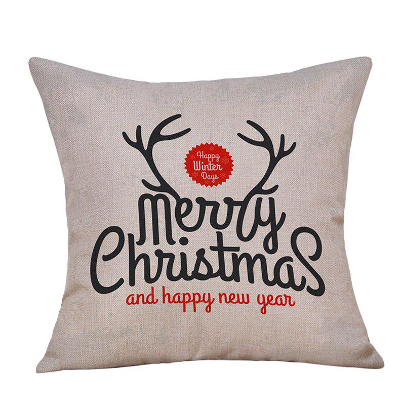 Merry Christmas Letters Print Decorative Linen PillowcaseHOME<br><br>Size: W18 INCH * L18 INCH; Color: OFF-WHITE; Material: Linen; Pattern: Letter; Style: Festival; Shape: Square; Weight: 0.0900kg; Package Contents: 1 x Pillowcase;