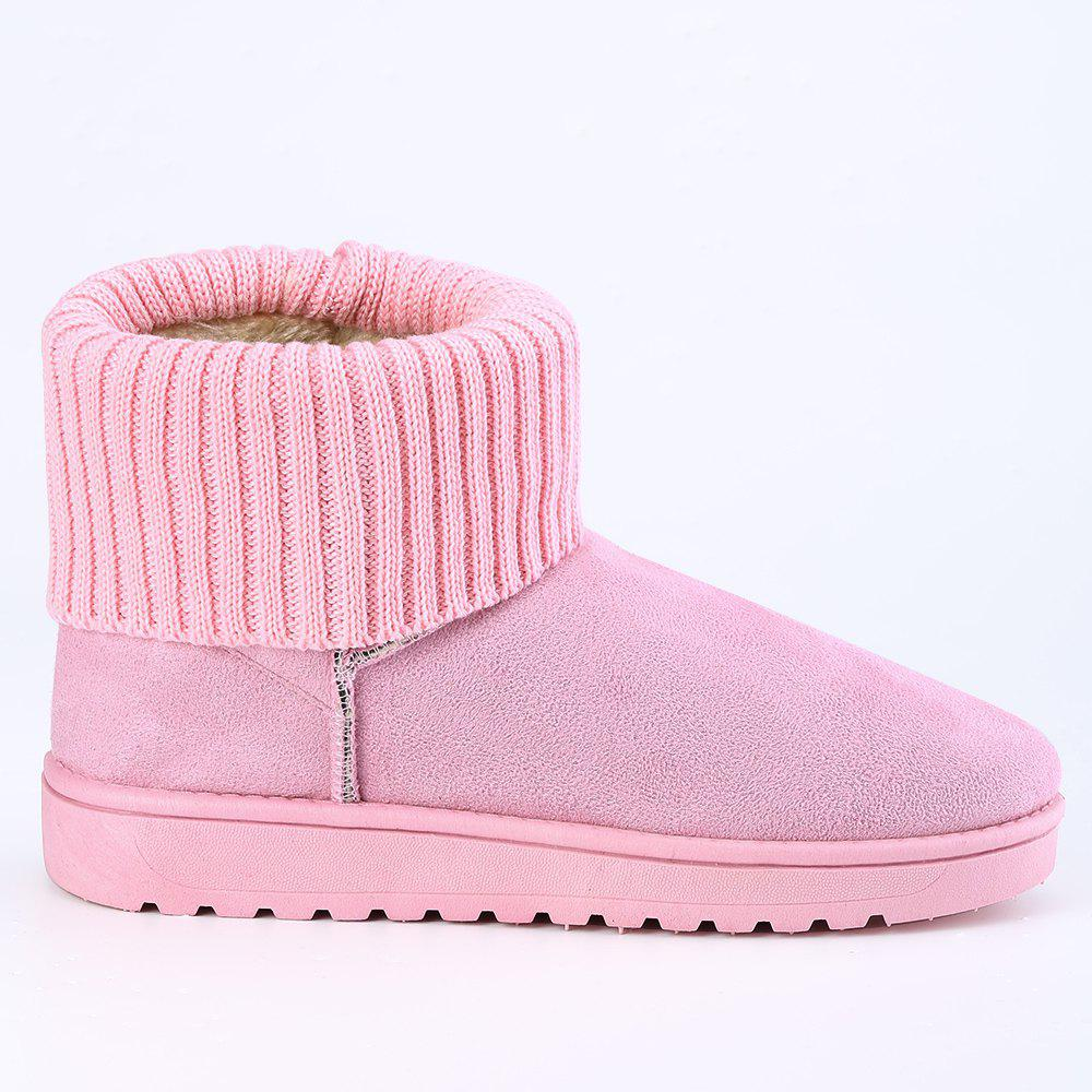 Sale Knitted Fold Over Ankle Snow Boots