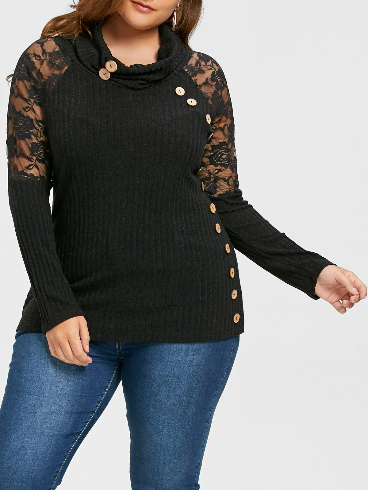 Plus Size Button Decorated Cowl Neck Sheer KnitwearWOMEN<br><br>Size: 4XL; Color: BLACK; Type: Pullovers; Material: Polyester; Sleeve Length: Full; Collar: Cowl Neck; Style: Fashion; Season: Fall,Spring; Pattern Type: Floral; Weight: 0.7100kg; Package Contents: 1 x Knitwear;