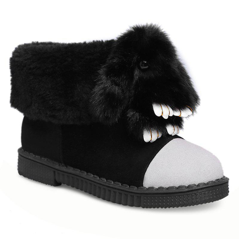 Buy Color Block Animal Embellished Snow Boots