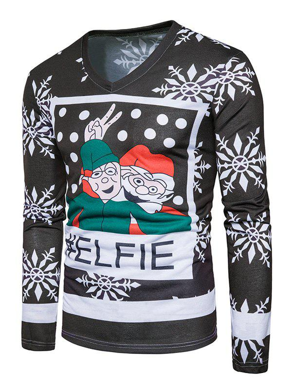Snowflake Christmas Santa Print Ugly T-shirtMEN<br><br>Size: L; Color: COLORMIX; Material: Cotton,Polyester; Sleeve Length: Full; Collar: V-Neck; Style: Casual,Fashion,Streetwear; Pattern Type: Character,Print; Season: Fall,Winter; Weight: 0.3100kg; Package Contents: 1 x T-shirt;