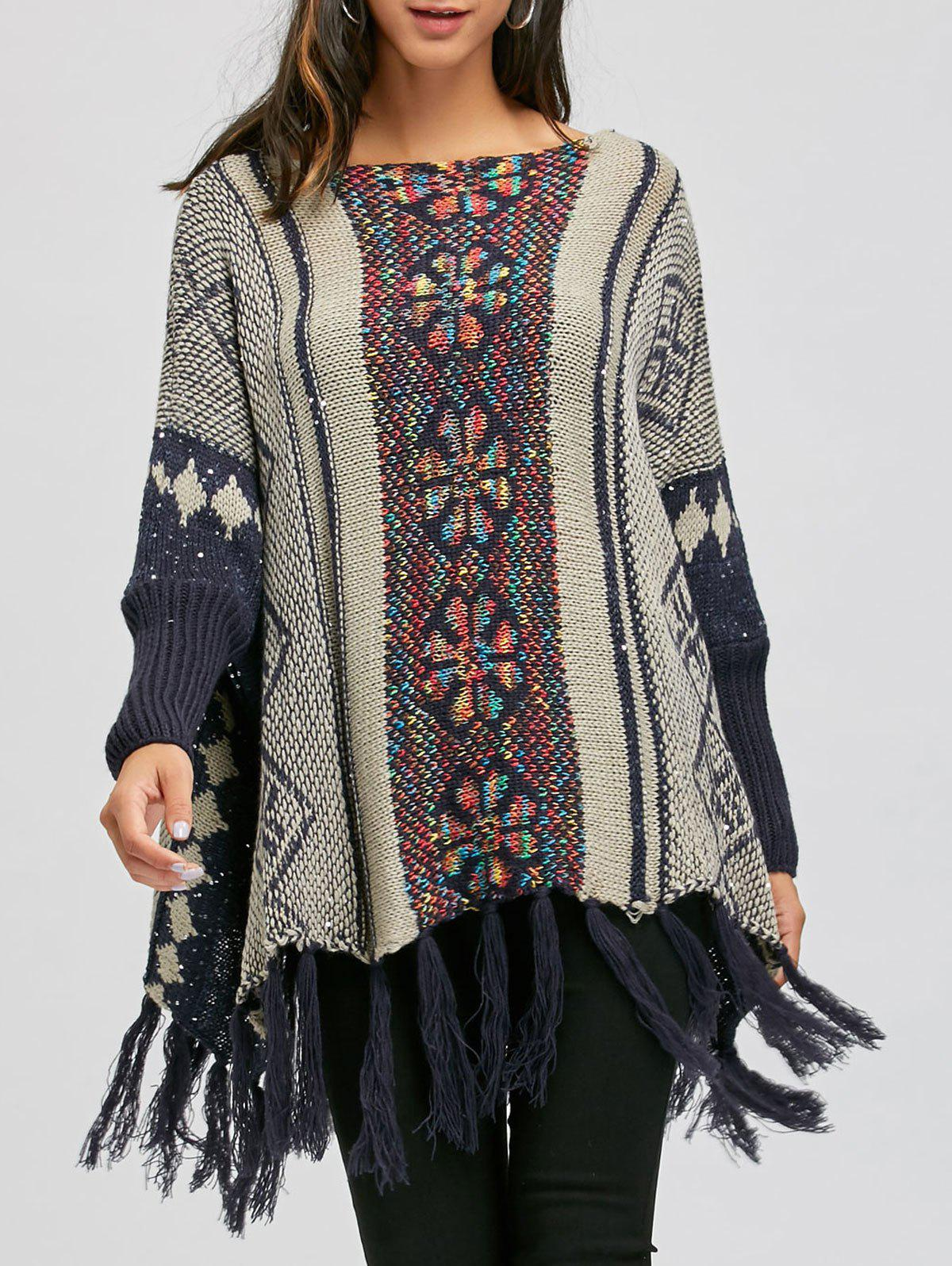Chic Batwing Sleeve Sequins Fringe Long Sweater