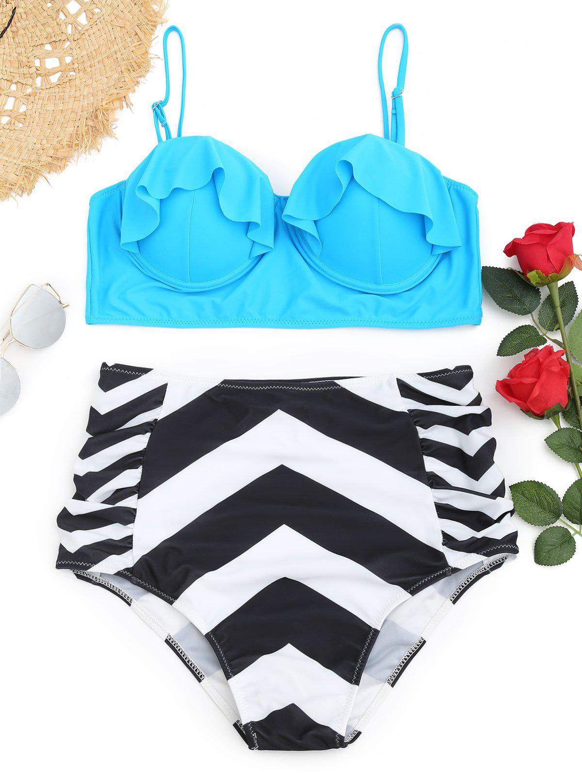 Outfits Underwire Frilled Zigzag Plus Size Bikini Set
