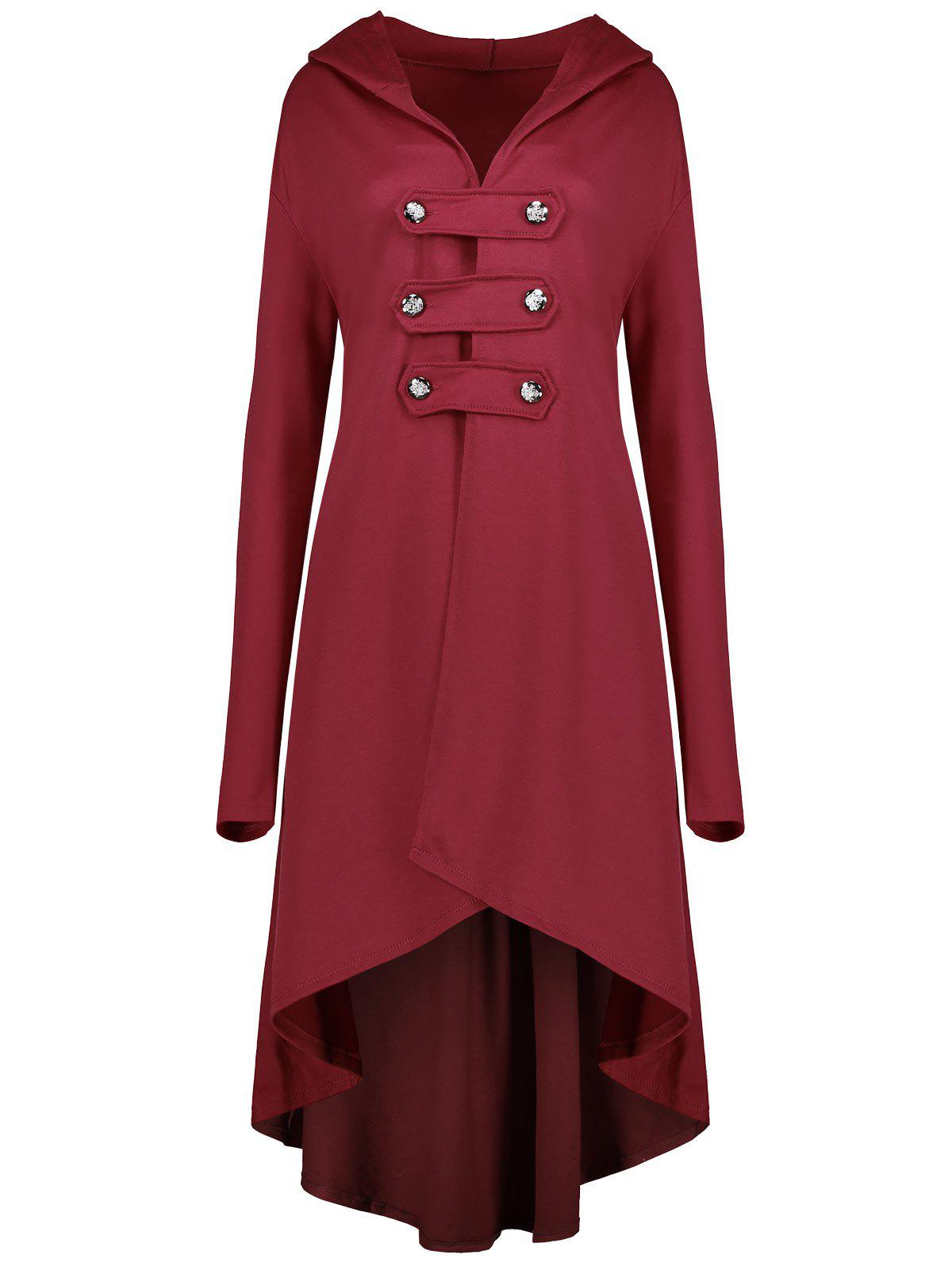 Plus Size Double Breast Swing High Low Hooded  CoatWOMEN<br><br>Size: 4XL; Color: RED; Clothes Type: Trench; Material: Cotton Blends,Polyester; Type: Asymmetric Length; Shirt Length: Long; Sleeve Length: Full; Collar: Hooded; Closure Type: Double Breasted; Pattern Type: Solid; Embellishment: Button; Style: Fashion; Season: Fall,Winter; Weight: 0.6500kg; Package Contents: 1 x Coat;