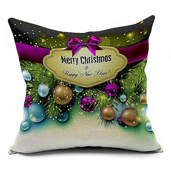 Christmas Ball Printed Decorative Throw PillowcaseHOME<br><br>Size: W17.5 INCH * L17.5 INCH; Color: COLORMIX; Material: Polyester / Cotton; Pattern: Printed; Style: Festival; Shape: Square; Weight: 0.1000kg; Package Contents: 1 x Pillowcase;