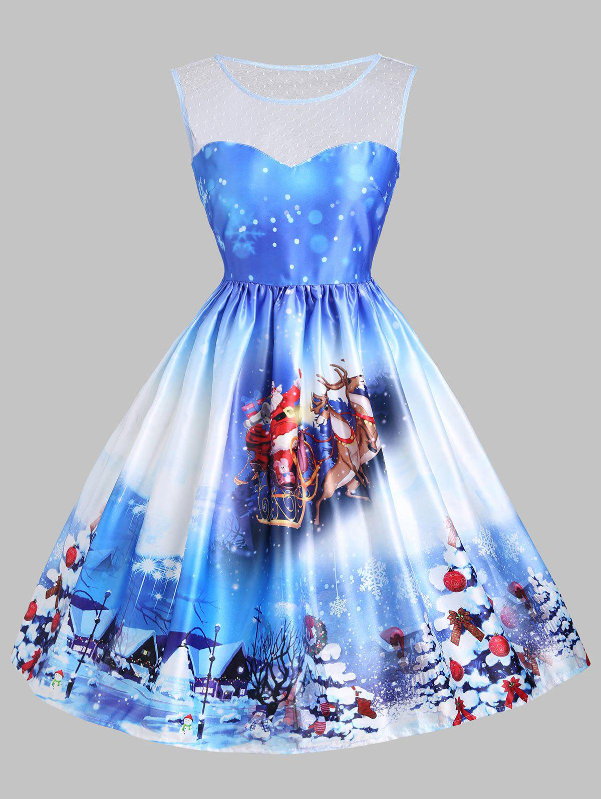 Christmas Tree Sled Mesh Insert DressWOMEN<br><br>Size: S; Color: BLUE; Style: Vintage; Material: Cotton,Polyester; Silhouette: A-Line; Dresses Length: Knee-Length; Neckline: Round Collar; Sleeve Length: Sleeveless; Embellishment: Mesh; Pattern Type: Animal,Plant; With Belt: No; Season: Fall,Spring,Summer; Weight: 0.3500kg; Package Contents: 1 x Dress;