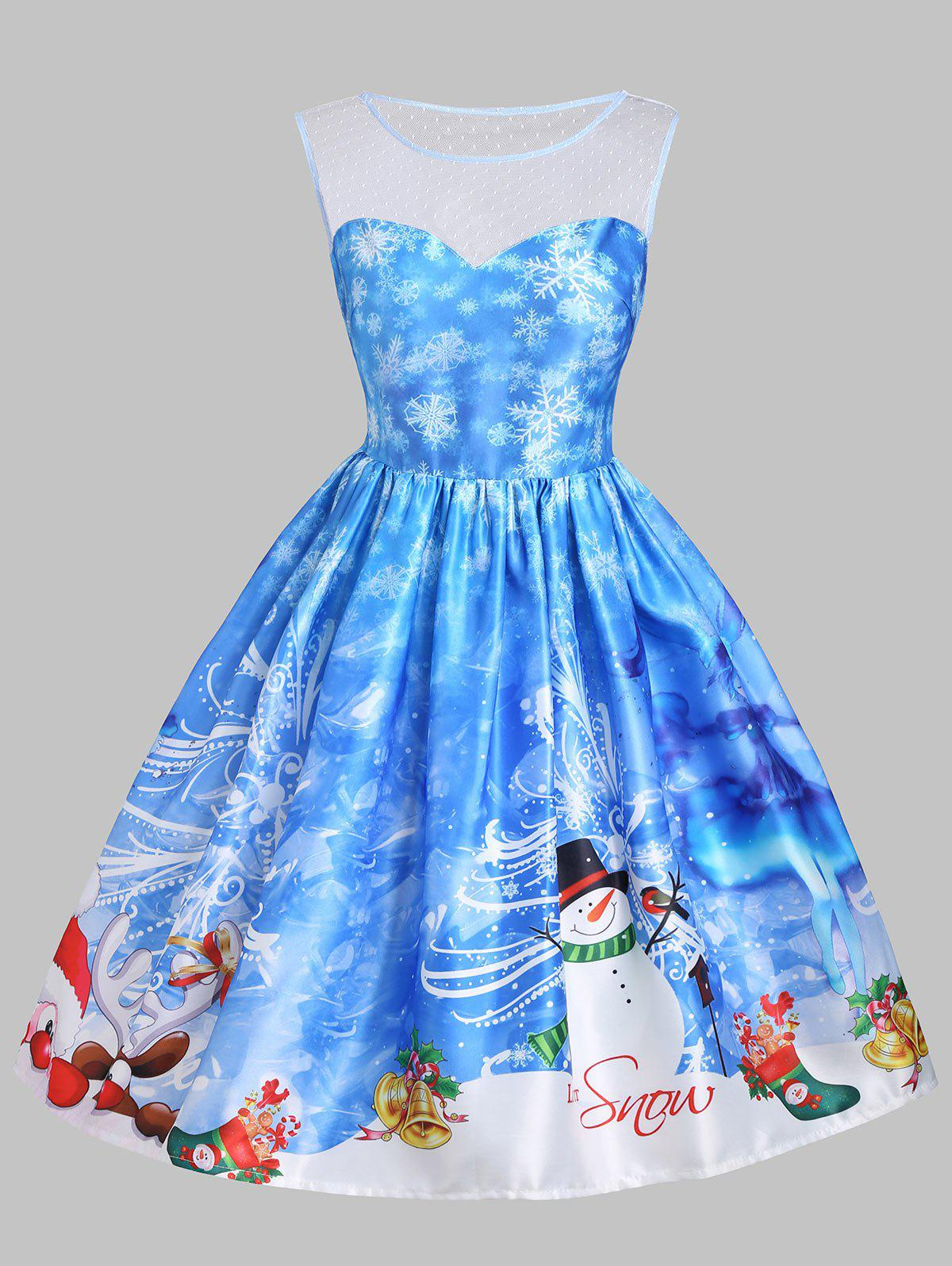 Christmas Snowman Snowflake Mesh Insert DressWOMEN<br><br>Size: S; Color: BLUE; Style: Vintage; Material: Cotton,Polyester; Silhouette: A-Line; Dresses Length: Knee-Length; Neckline: Round Collar; Sleeve Length: Sleeveless; Embellishment: Mesh; Pattern Type: Letter,Print; With Belt: No; Season: Fall,Spring,Summer; Weight: 0.3500kg; Package Contents: 1 x Dress;