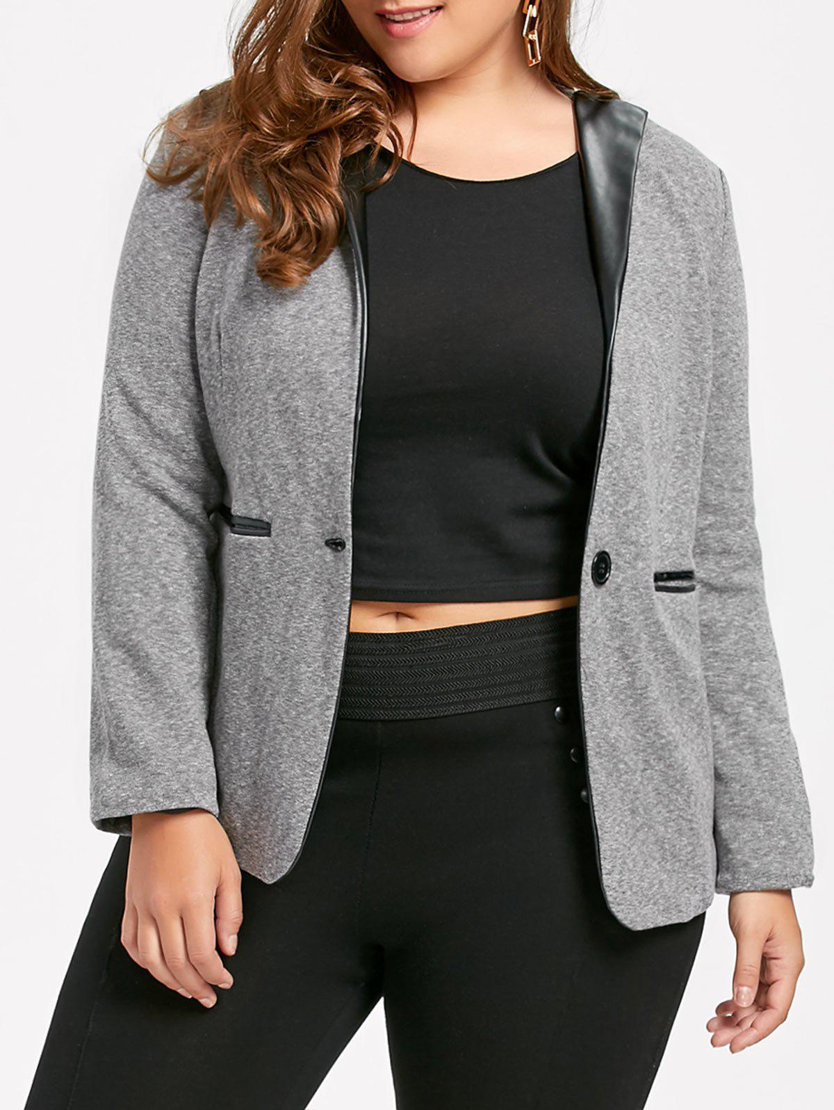 Plus Size V Neck One Button Jacket with PocketsWOMEN<br><br>Size: 6XL; Color: DEEP GRAY; Clothes Type: Jackets; Material: Cotton Blends,Polyester; Type: Slim; Shirt Length: Regular; Sleeve Length: Full; Collar: V-Neck; Pattern Type: Solid; Embellishment: Front Pocket; Style: Fashion; Season: Fall; Weight: 0.6300kg; Package Contents: 1 x Jacket;