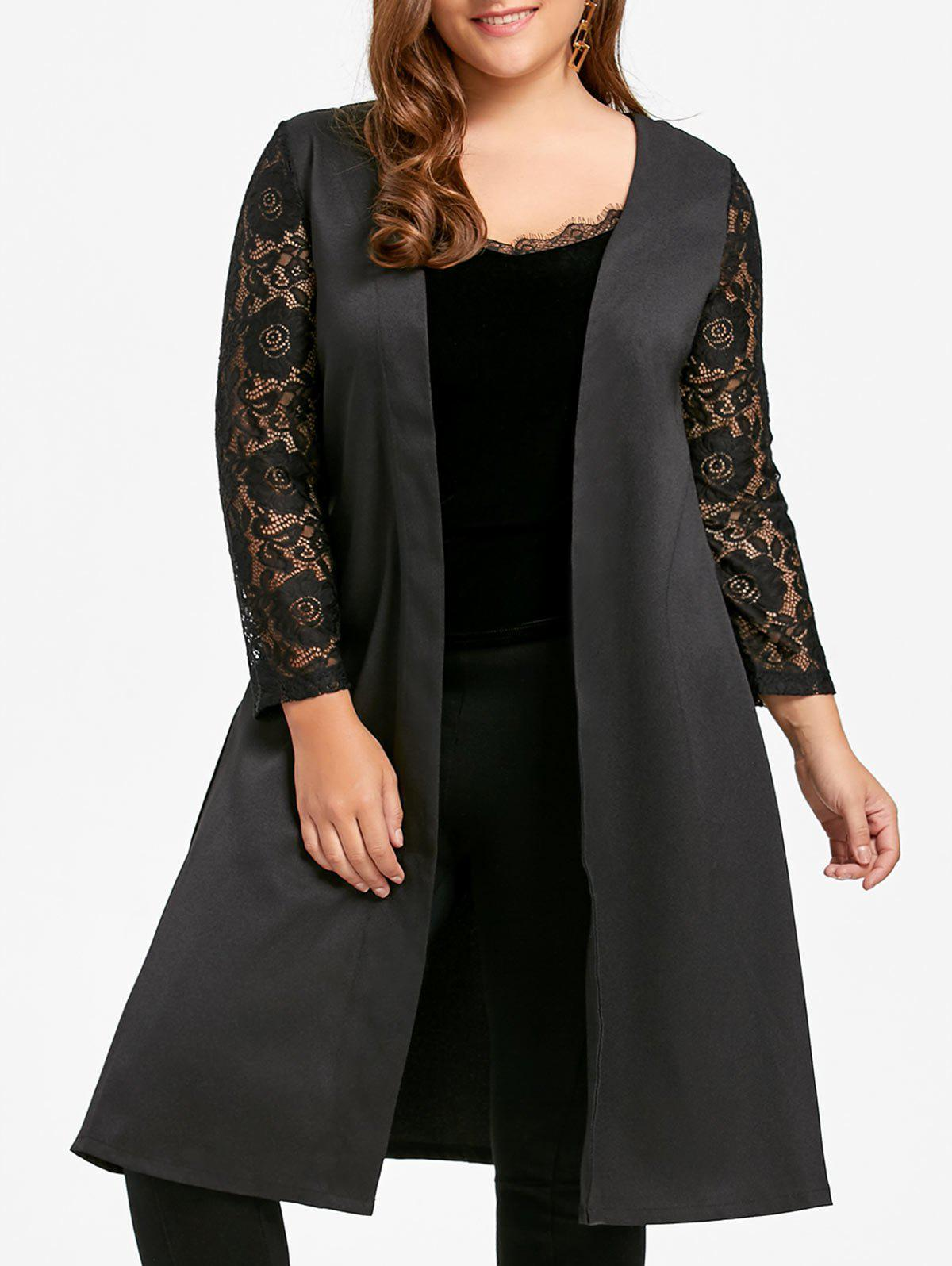 Lace Sleeve Plus Size Long Trench CoatWOMEN<br><br>Size: 7XL; Color: BLACK; Clothes Type: Trench; Material: Polyester; Type: Slim; Shirt Length: Long; Sleeve Length: Full; Collar: Collarless; Pattern Type: Solid; Embellishment: Lace,Panel; Style: Fashion; Season: Fall,Spring,Winter; Weight: 0.4000kg; Package Contents: 1 x Coat;