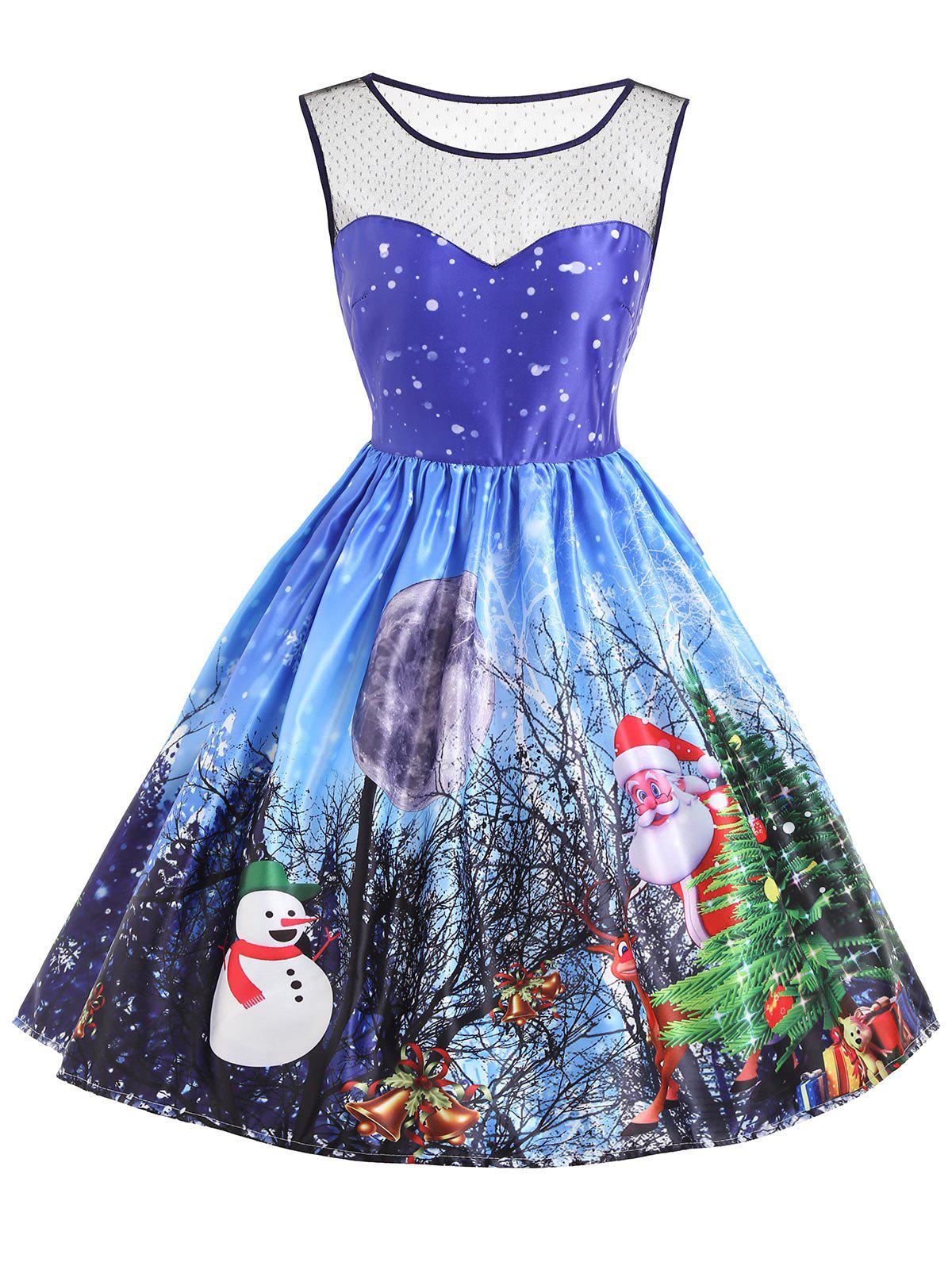 Christmas Santa Claus Snowman Mesh Insert DressWOMEN<br><br>Size: XL; Color: BLUE; Style: Vintage; Material: Cotton,Polyester; Silhouette: A-Line; Dresses Length: Knee-Length; Neckline: Round Collar; Sleeve Length: Sleeveless; Embellishment: Mesh; Pattern Type: Moon,Print; With Belt: No; Season: Fall,Spring,Summer; Weight: 0.3500kg; Package Contents: 1 x Dress;