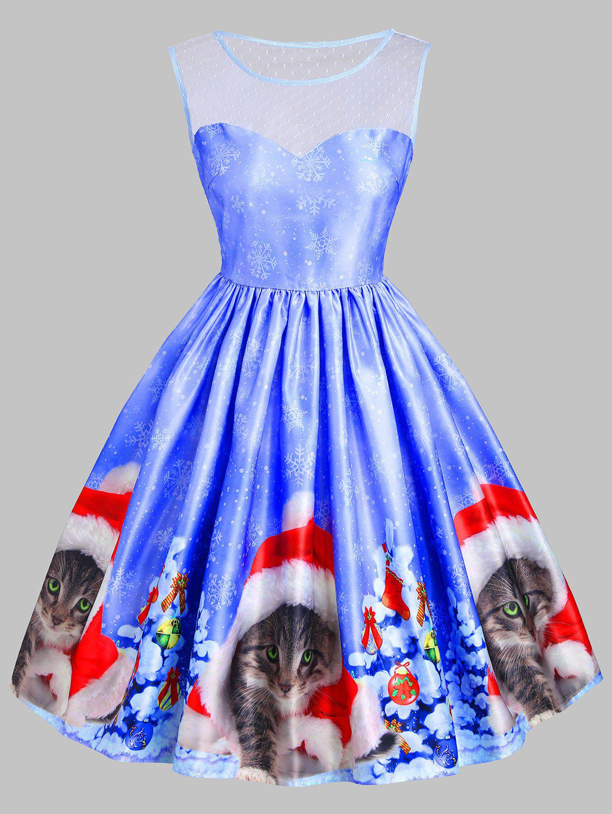 Christmas Cat Snowflake Mesh Insert DressWOMEN<br><br>Size: S; Color: BLUE; Style: Vintage; Material: Cotton,Polyester; Silhouette: A-Line; Dresses Length: Knee-Length; Neckline: Round Collar; Sleeve Length: Sleeveless; Embellishment: Mesh; Pattern Type: Animal; With Belt: No; Season: Fall,Spring,Summer; Weight: 0.3500kg; Package Contents: 1 x Dress;
