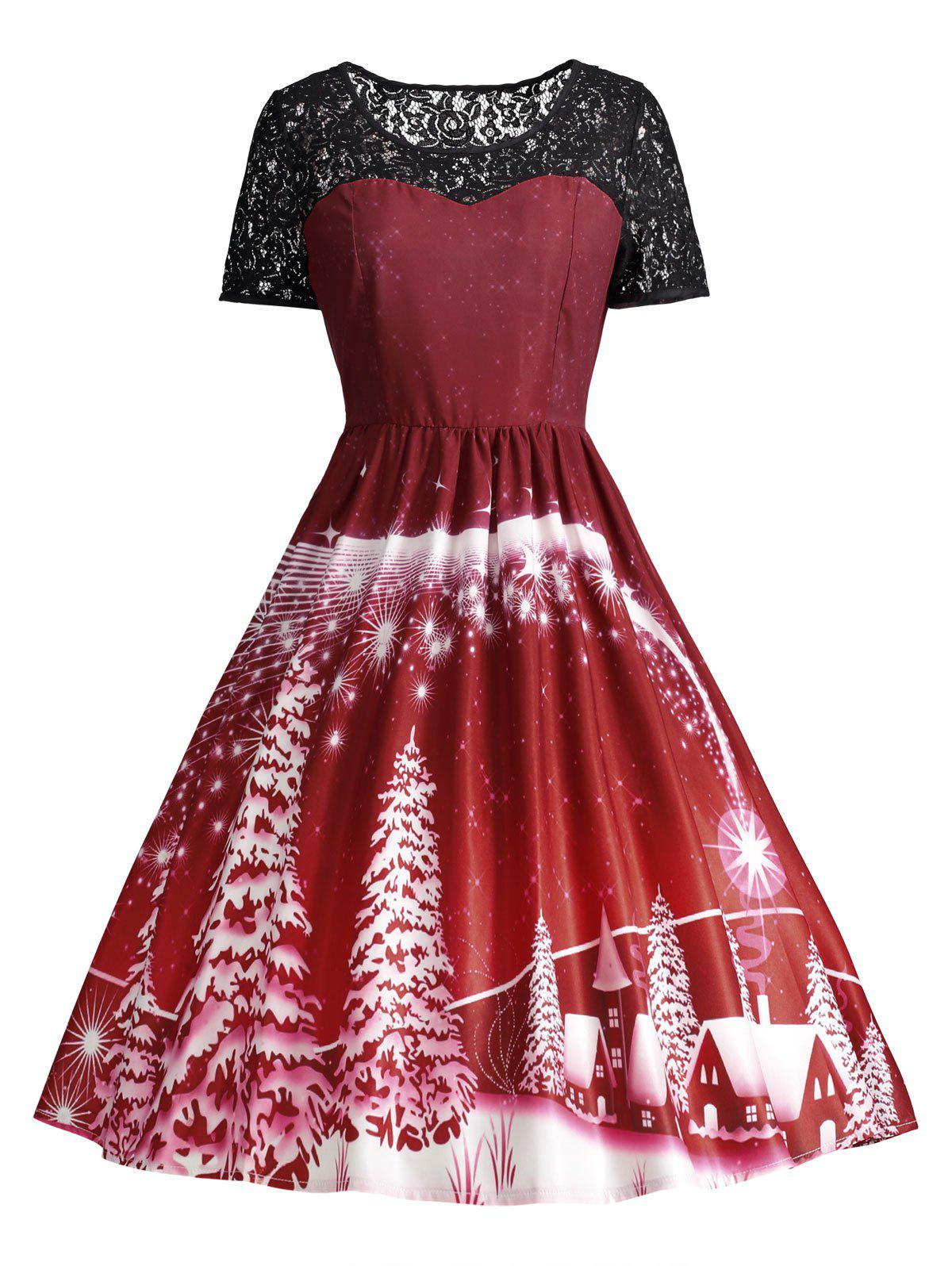 Ugly Christmas Party Lace Trim Vintage DressWOMEN<br><br>Size: XL; Color: DARK RED; Style: Cute; Material: Polyester,Spandex; Silhouette: A-Line; Dresses Length: Knee-Length; Neckline: Round Collar; Sleeve Length: Short Sleeves; Pattern Type: Others; With Belt: No; Season: Fall,Spring; Weight: 0.3150kg; Package Contents: 1 x Dress;