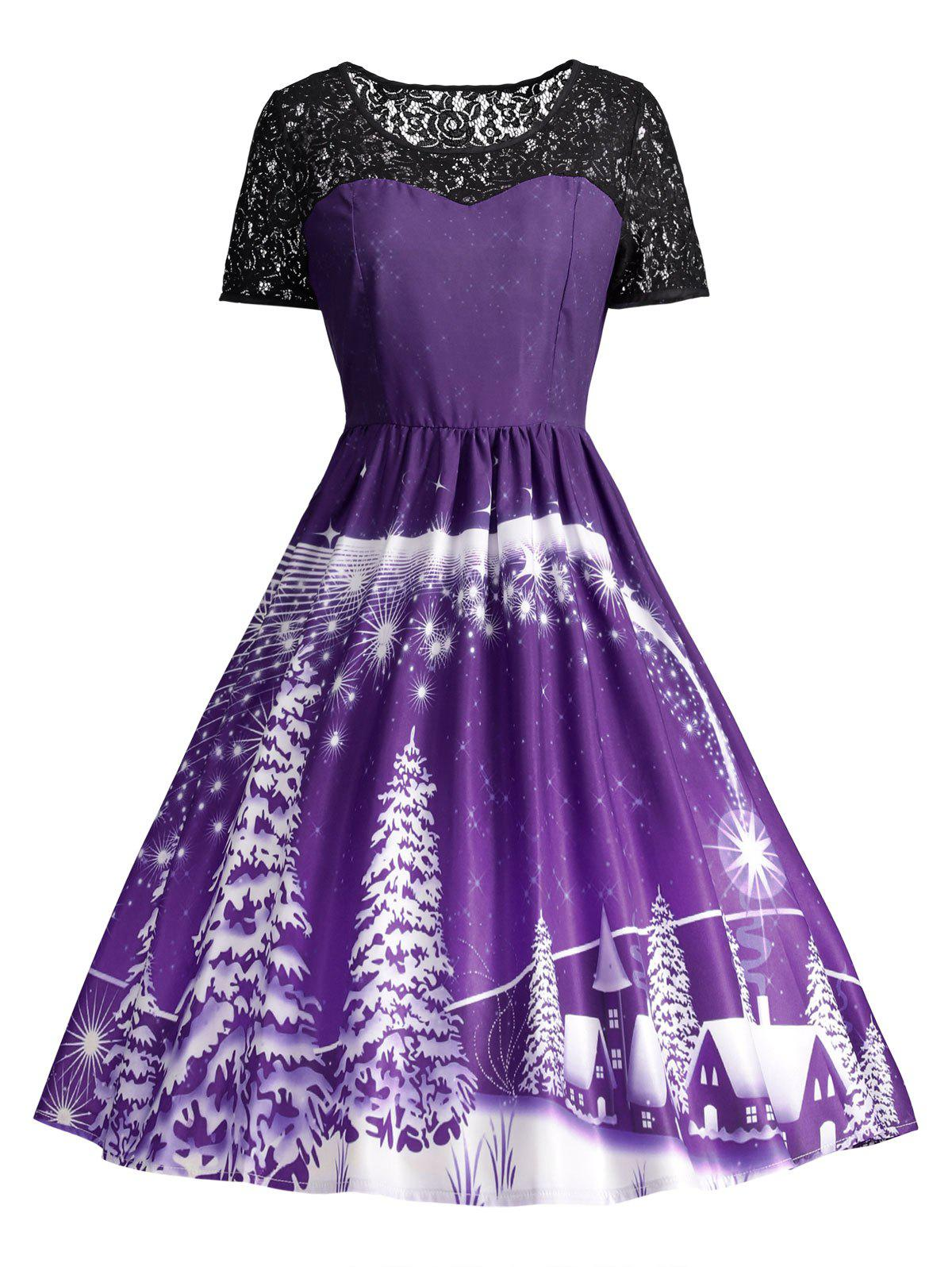 Ugly Christmas Party Lace Trim Vintage DressWOMEN<br><br>Size: XL; Color: PURPLE; Style: Cute; Material: Polyester,Spandex; Silhouette: A-Line; Dresses Length: Knee-Length; Neckline: Round Collar; Sleeve Length: Short Sleeves; Pattern Type: Others; With Belt: No; Season: Fall,Spring; Weight: 0.3150kg; Package Contents: 1 x Dress;