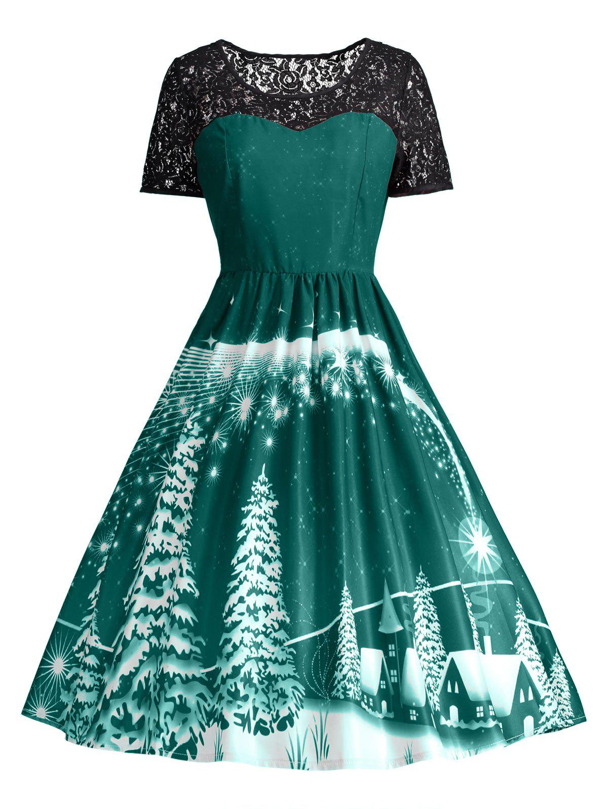 Ugly Christmas Party Lace Trim Vintage DressWOMEN<br><br>Size: L; Color: GREEN; Style: Cute; Material: Polyester,Spandex; Silhouette: A-Line; Dresses Length: Knee-Length; Neckline: Round Collar; Sleeve Length: Short Sleeves; Pattern Type: Others; With Belt: No; Season: Fall,Spring; Weight: 0.3150kg; Package Contents: 1 x Dress;