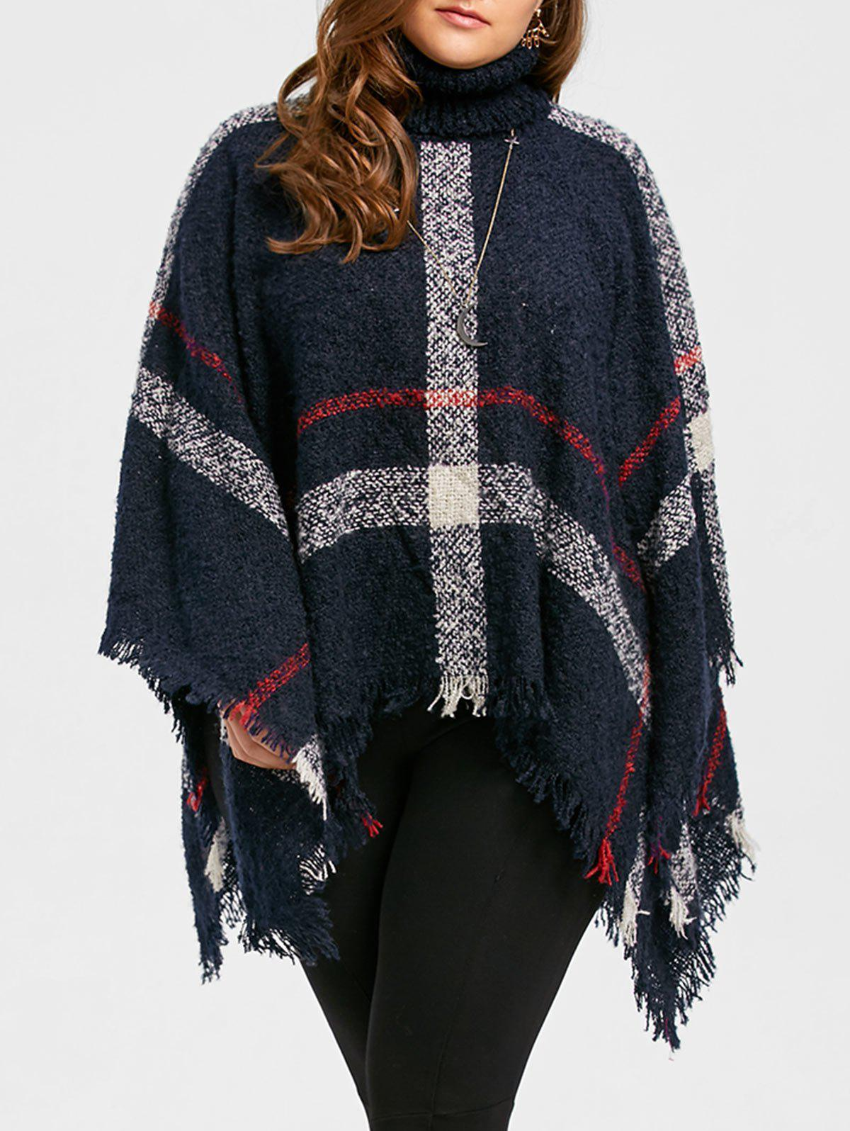 Asymmetric Turtleneck Plus Size Print Cape SweaterWOMEN<br><br>Size: ONE SIZE; Color: BLUE; Type: Pullovers; Material: Polyester,Spandex; Sleeve Length: Full; Collar: Turtleneck; Style: Fashion; Season: Fall,Winter; Pattern Type: Striped; Weight: 0.5800kg; Package Contents: 1 x Sweater;