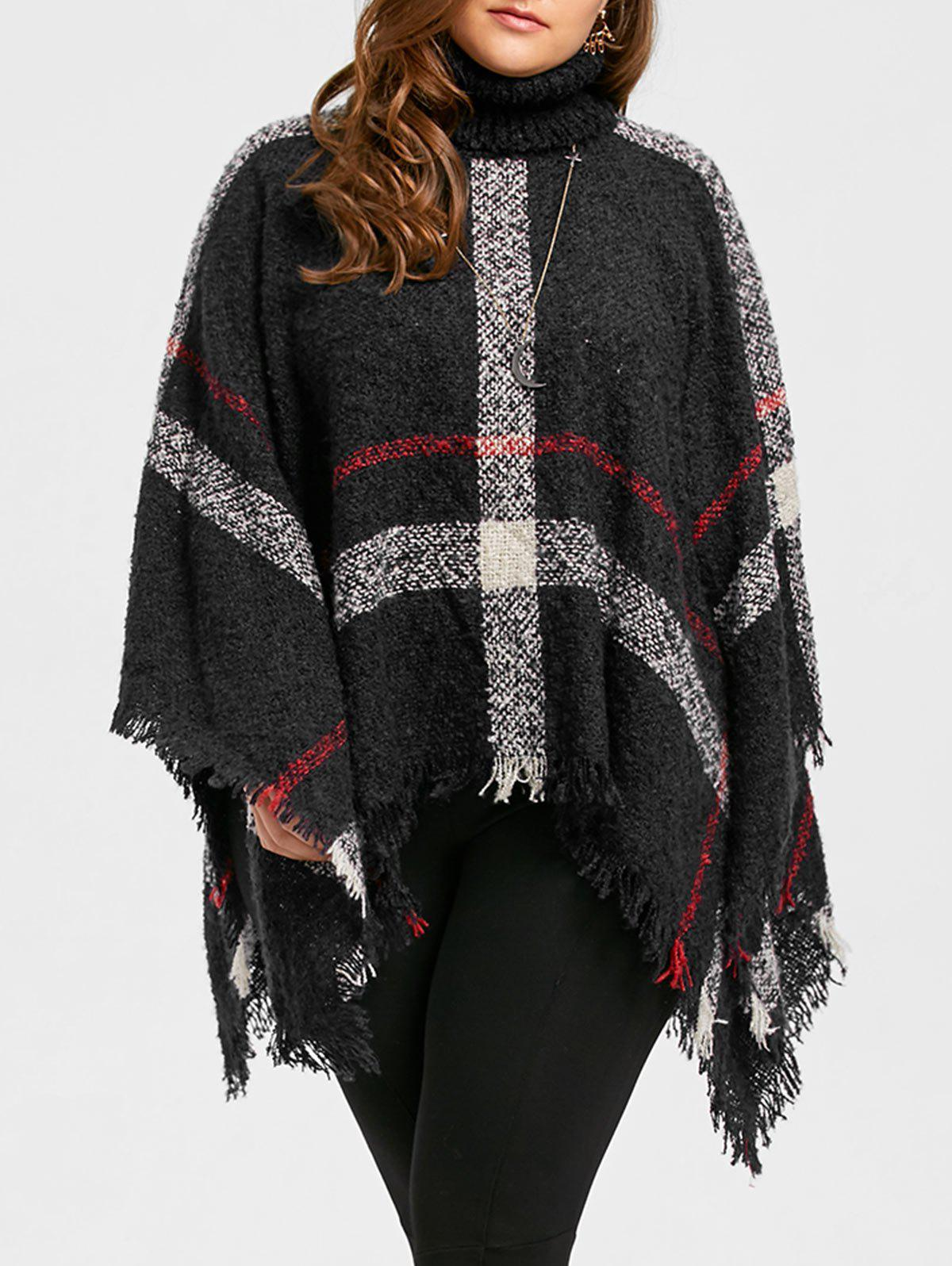 Asymmetric Turtleneck Plus Size Print Cape SweaterWOMEN<br><br>Size: ONE SIZE; Color: BLACK; Type: Pullovers; Material: Polyester,Spandex; Sleeve Length: Full; Collar: Turtleneck; Style: Fashion; Season: Fall,Winter; Pattern Type: Striped; Weight: 0.5800kg; Package Contents: 1 x Sweater;
