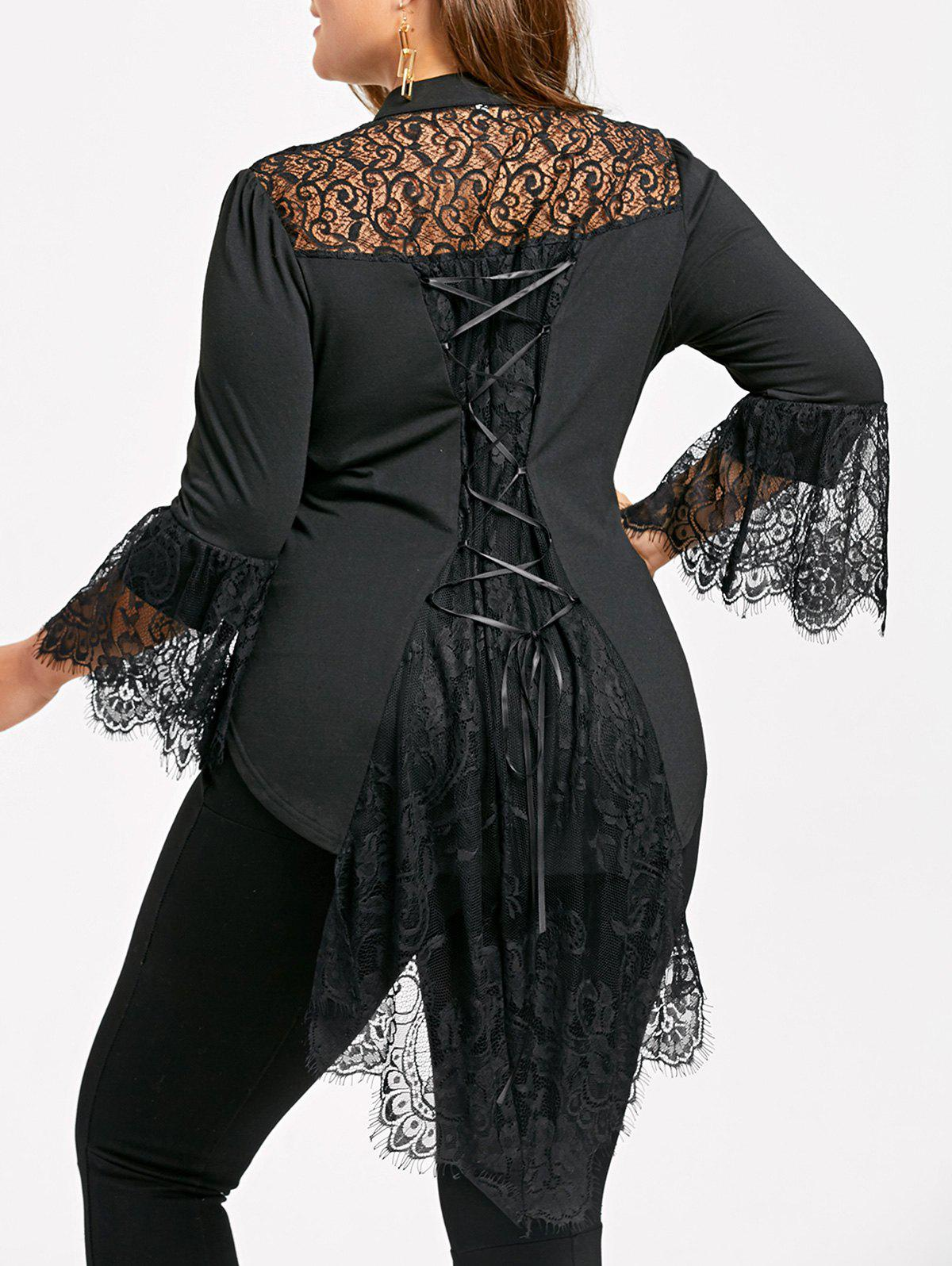 600be261c57 Plus Size Lace Up Dip Hem Blouse