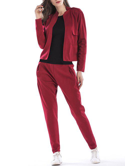 Casual Sport Jacket and PantsWOMEN<br><br>Size: XL; Color: WINE RED; Material: Polyester; Shirt Length: Regular; Sleeve Length: Full; Pattern Style: Solid; Weight: 0.6700kg; Package Contents: 1 x Jacket  1 x Pants;