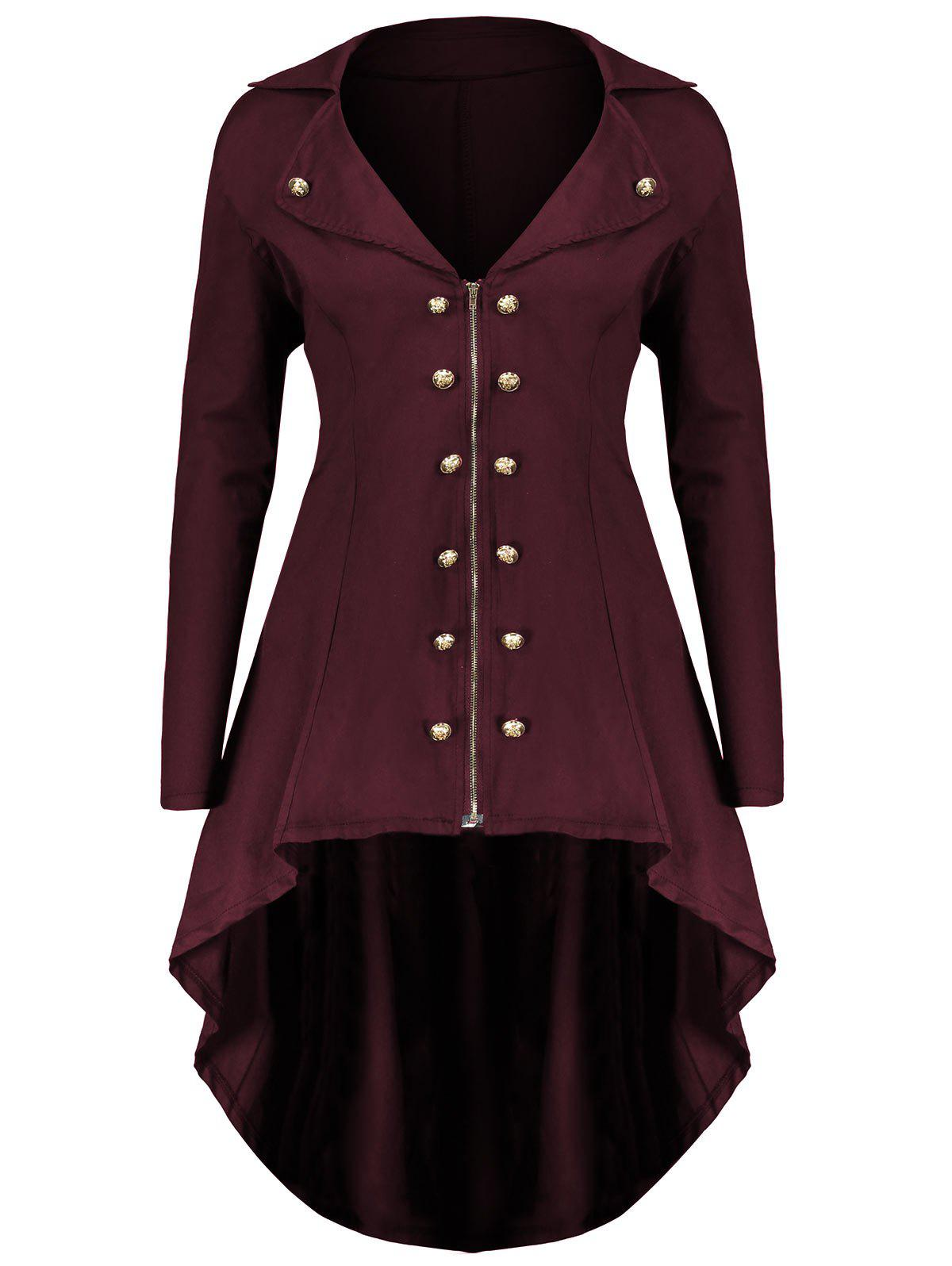 Lapel Double Breast Plus Size High Low CoatWOMEN<br><br>Size: 4XL; Color: WINE RED; Clothes Type: Others; Material: Polyester,Spandex; Type: Asymmetric Length; Shirt Length: Long; Sleeve Length: Full; Collar: Lapel; Pattern Type: Solid; Embellishment: Button,Zippers; Style: Fashion; Season: Fall,Winter; Weight: 0.5200kg; Package Contents: 1 x Coat;
