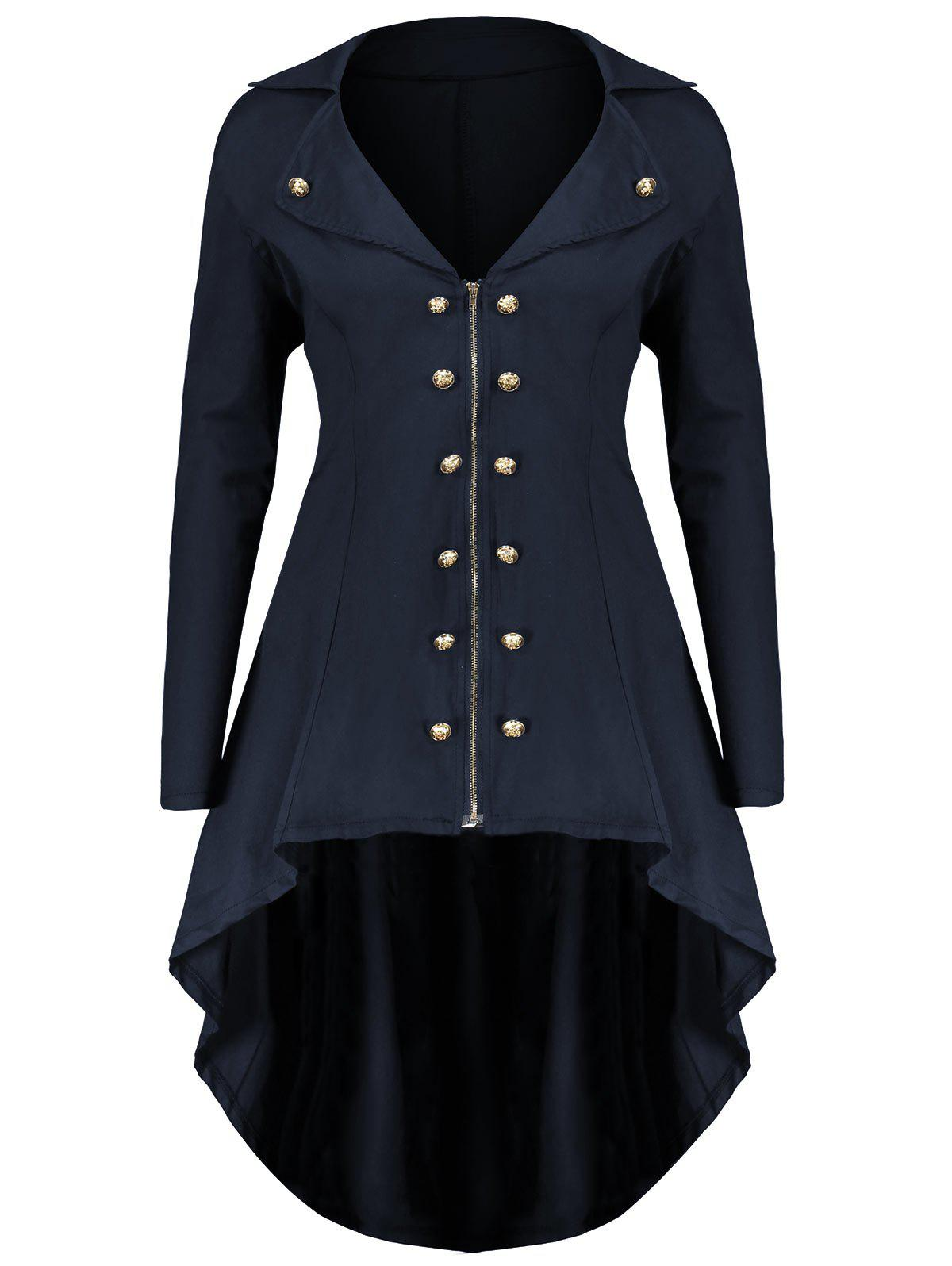 Lapel Double Breast Plus Size High Low CoatWOMEN<br><br>Size: 3XL; Color: BLUE; Clothes Type: Others; Material: Polyester,Spandex; Type: Asymmetric Length; Shirt Length: Long; Sleeve Length: Full; Collar: Lapel; Pattern Type: Solid; Embellishment: Button,Zippers; Style: Fashion; Season: Fall,Winter; Weight: 0.5200kg; Package Contents: 1 x Coat;