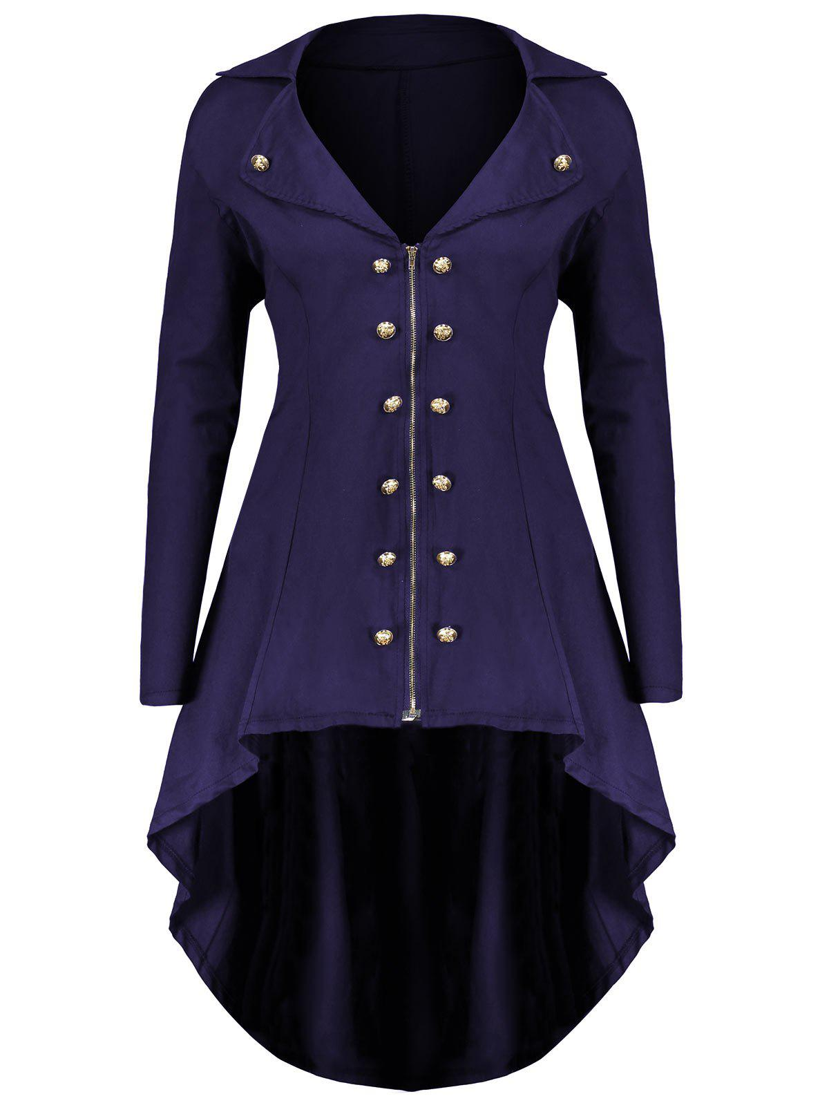 Lapel Double Breast Plus Size High Low CoatWOMEN<br><br>Size: 3XL; Color: PURPLE; Clothes Type: Others; Material: Polyester,Spandex; Type: Asymmetric Length; Shirt Length: Long; Sleeve Length: Full; Collar: Lapel; Pattern Type: Solid; Embellishment: Button,Zippers; Style: Fashion; Season: Fall,Winter; Weight: 0.5200kg; Package Contents: 1 x Coat;