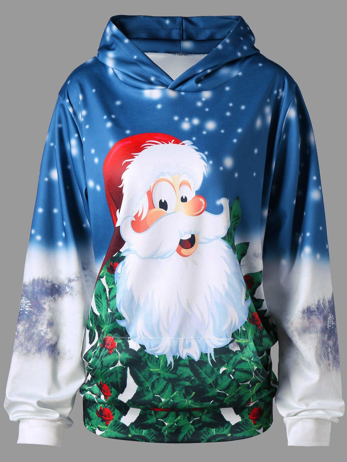 Trendy Plus Size Pullover Kangaroo Pocket 3D Father Christmas Printed  Hoodie