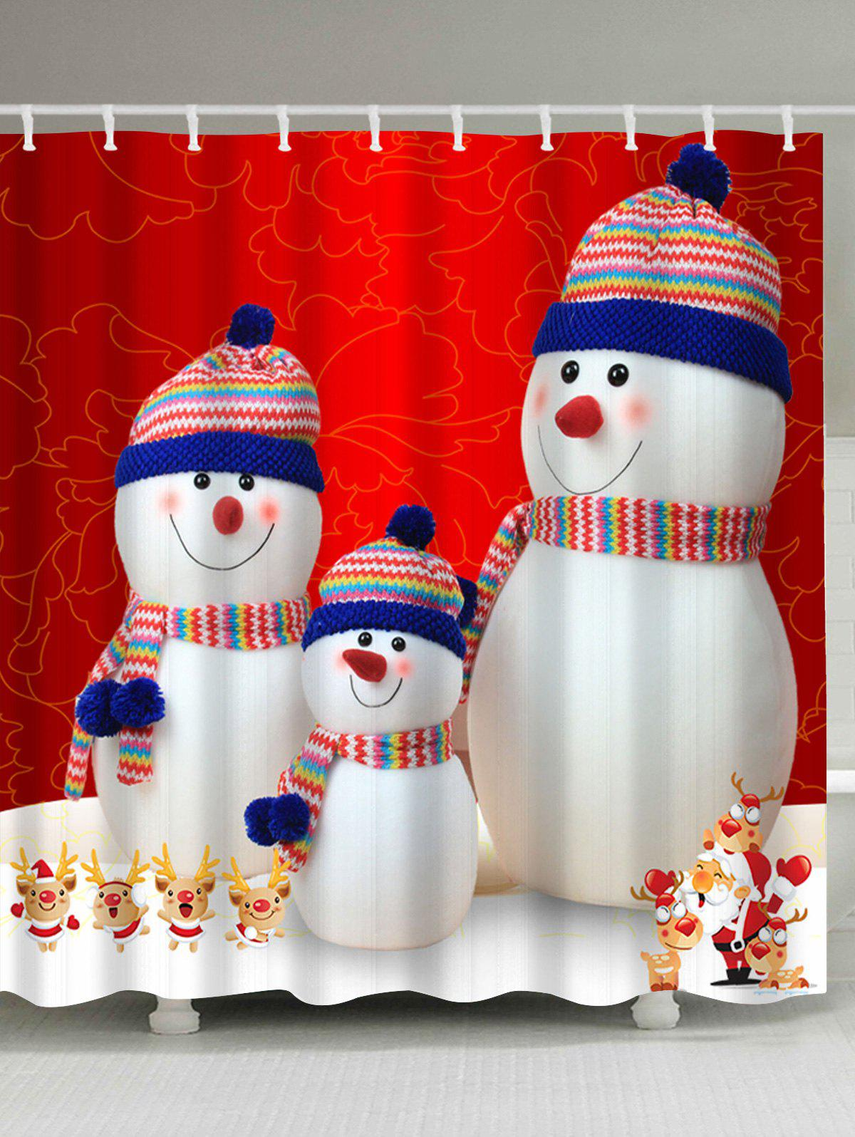 Christmas Snowman Family Waterproof Polyester Shower CurtainHOME<br><br>Size: W59 INCH * L71 INCH; Color: COLORMIX; Products Type: Shower Curtains; Materials: Polyester; Pattern: Snowman; Style: Festival; Number of Hook Holes: W59 inch*L71 inch: 10; W71 inch*L71 inch: 12; W71 inch*L79 inch: 12; Package Contents: 1 x Shower Curtain 1 x Hooks (Set);