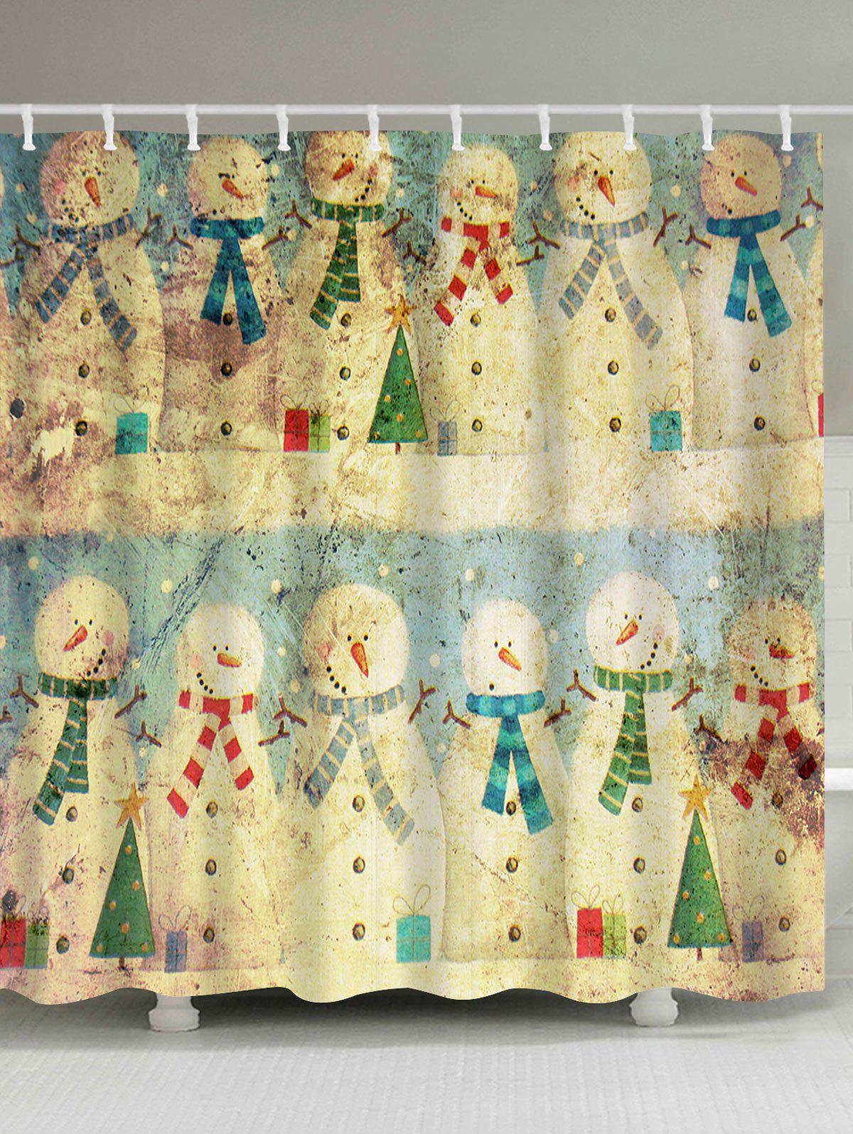 Vintage Christmas Snowman Family Waterproof Bath CurtainHOME<br><br>Size: W59 INCH * L71 INCH; Color: COLORMIX; Products Type: Shower Curtains; Materials: Polyester; Pattern: Snowman; Style: Festival; Number of Hook Holes: W59 inch*L71 inch: 10; W71 inch*L71 inch: 12; W71 inch*L79 inch: 12; Package Contents: 1 x Shower Curtain 1 x Hooks (Set);