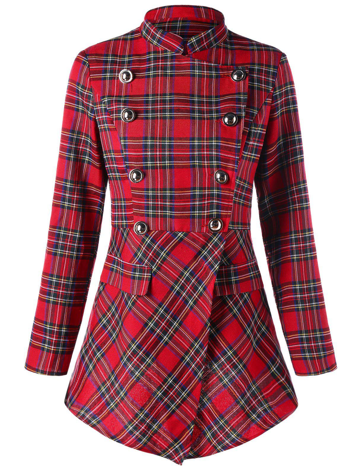 Ugly Christmas Double Breasted Plaid CoatWOMEN<br><br>Size: M; Color: CHECKED; Clothes Type: Others; Material: Cotton,Cotton Blend; Type: High Waist; Shirt Length: Regular; Sleeve Length: Full; Collar: Stand-Up Collar; Pattern Type: Plaid; Style: Fashion; Season: Fall,Winter; Weight: 0.3600kg; Package Contents: 1 x Coat;