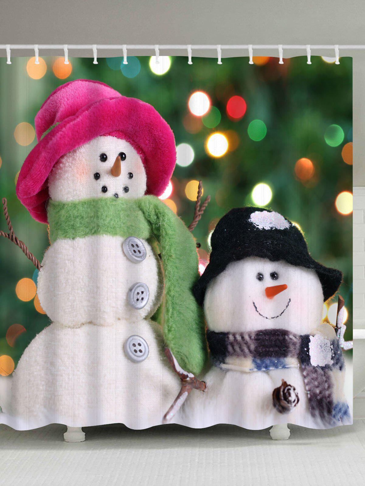 Christmas Two Snowmen Polyester Waterproof Bath CurtainHOME<br><br>Size: W71 INCH * L79 INCH; Color: GREEN; Products Type: Shower Curtains; Materials: Polyester; Pattern: Snowman; Style: Festival; Number of Hook Holes: W59 inch*L71 inch: 10; W71 inch*L71 inch: 12; W71 inch*L79 inch: 12; Package Contents: 1 x Shower Curtain 1 x Hooks (Set);