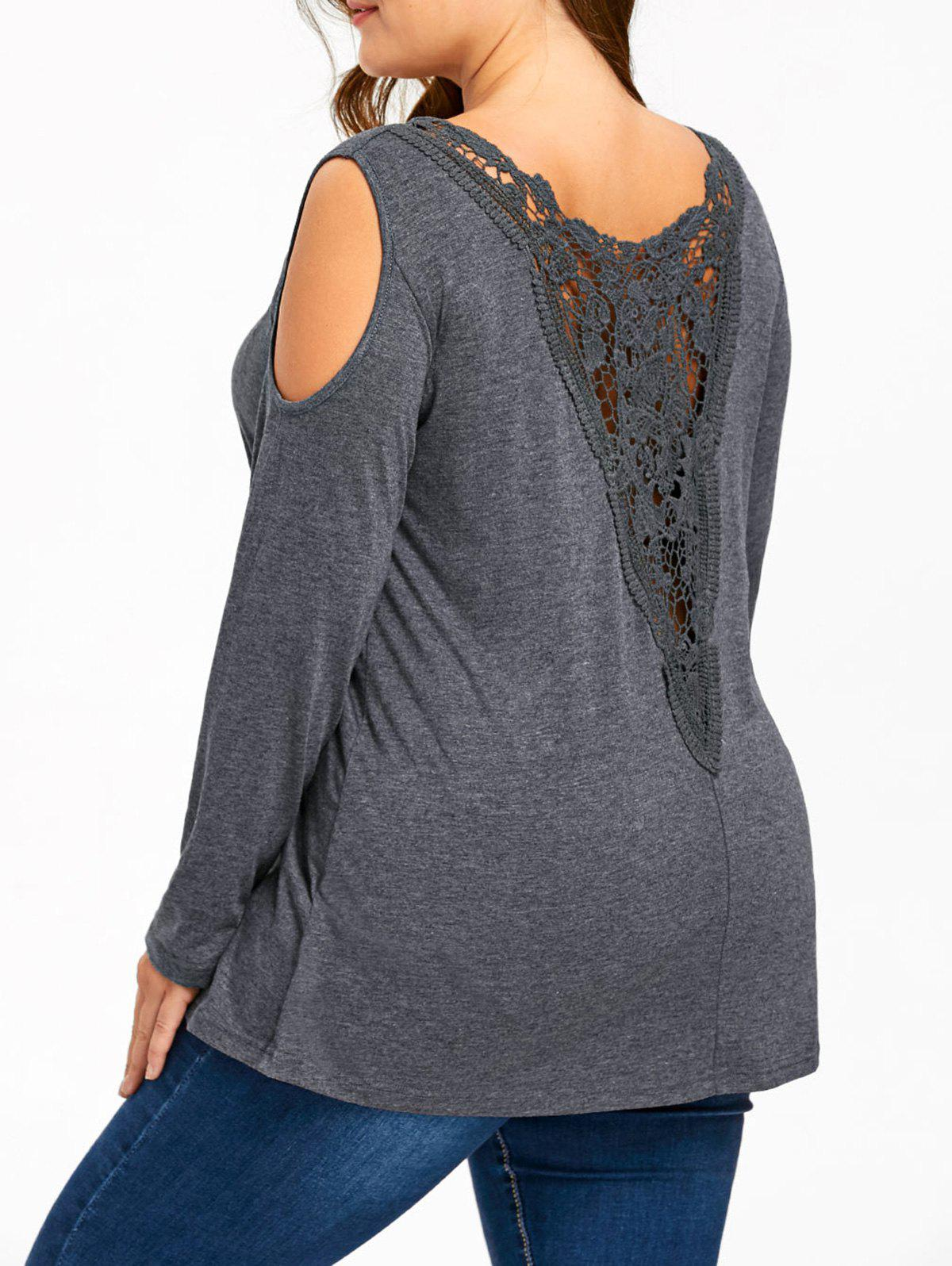 Plus Size Long Sleeve Lace Panel Cut Out T-shirtWOMEN<br><br>Size: 5XL; Color: GRAY; Material: Cotton,Spandex; Shirt Length: Long; Sleeve Length: Full; Collar: Scoop Neck; Style: Casual; Season: Fall,Spring; Embellishment: Cut Out,Lace,Panel; Pattern Type: Others; Weight: 0.3000kg; Package Contents: 1 x T-shirt;