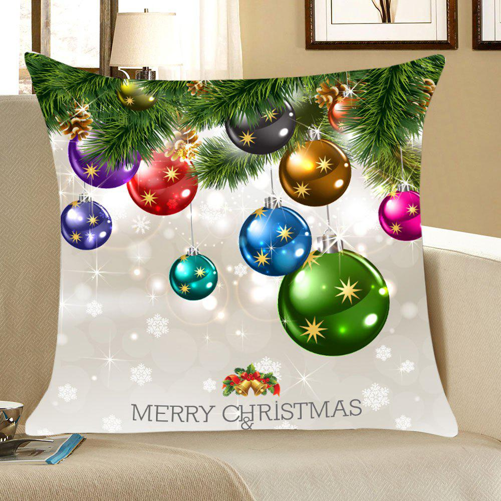 Christmas Colorful Balls Patterned Throw Pillow CaseHOME<br><br>Size: W18 INCH * L18 INCH; Color: COLORFUL; Material: Linen; Fabric Type: Linen; Pattern: Christmas Tree,Snowflake; Style: Festival; Weight: 0.0700kg; Package Contents: 1 x Pillow Case;