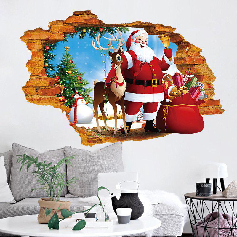 3D Hole Santa Claus Pattern Christmas Wall DecalHOME<br><br>Size: 50*70CM; Color: COLORMIX; Wall Sticker Type: 3D Wall Stickers; Functions: Decorative Wall Stickers; Theme: Christmas; Pattern Type: Animal,Santa Claus; Material: PVC; Feature: Removable; Weight: 0.1274kg; Package Contents: 1 x Wall Sticker;