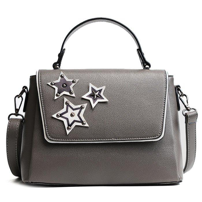Rivets Pentagram Pattern Faux Leather Crossbody BagSHOES &amp; BAGS<br><br>Color: GRAY; Handbag Type: Crossbody bag; Style: Fashion; Gender: For Women; Pattern Type: Star; Handbag Size: Small(20-30cm); Closure Type: Cover; Occasion: Versatile; Main Material: PU; Size(CM)(L*W*H): 25*11*20; Weight: 0.6000kg; Package Contents: 1 x Crossbody Bag; Package Size(L x W x H): 30.00 x 5.00 x 20.00 cm / 11.81 x 1.97 x 7.87 inches;