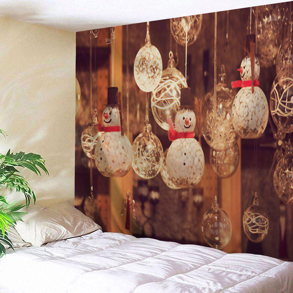 Christmas Snowman Glass Ball Printed Wall Art TapestryHOME<br><br>Size: W59 INCH * L51 INCH; Color: BROWN; Style: Festival; Theme: Christmas; Material: Polyester; Feature: Removable,Washable; Shape/Pattern: Ball,Snowman; Weight: 0.1800kg; Package Contents: 1 x Tapestry;