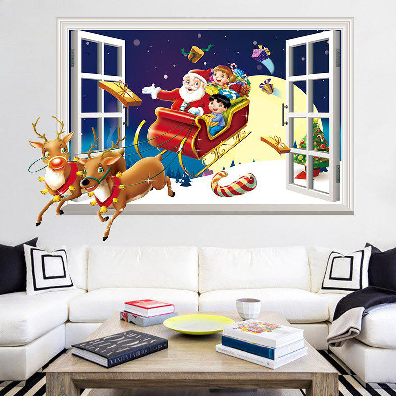 3D Christmas Sled Santa Claus Pattern Window Wall Art StickerHOME<br><br>Size: 50*70CM; Color: COLORMIX; Wall Sticker Type: 3D Wall Stickers; Functions: Decorative Wall Stickers; Theme: Christmas; Pattern Type: Animal,Santa Claus; Material: PVC; Feature: Removable; Weight: 0.1274kg; Package Contents: 1 x Wall Sticker;