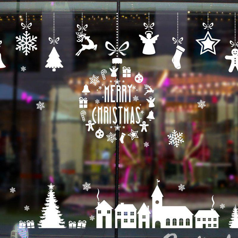 Christmas Elements Pattern Window Wall Art StickerHOME<br><br>Size: 60*90CM; Color: WHITE; Wall Sticker Type: Plane Wall Stickers; Functions: Decorative Wall Stickers; Theme: Christmas; Pattern Type: Animal,Christmas Tree,Letter; Material: PVC; Feature: Removable; Weight: 0.1984kg; Package Contents: 1 x Wall Sticker;