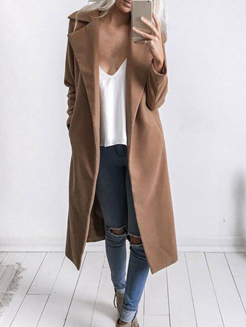 Lapel Duster Coat with PocketsWOMEN<br><br>Size: M; Color: KHAKI; Clothes Type: Wool &amp; Blends; Material: Cotton Blend,Polyester; Type: Wide-waisted; Shirt Length: Long; Sleeve Length: Full; Collar: Lapel; Pattern Type: Solid; Embellishment: Pockets; Style: Fashion; Season: Fall,Winter; Weight: 0.9000kg; Package Contents: 1 x Coat;