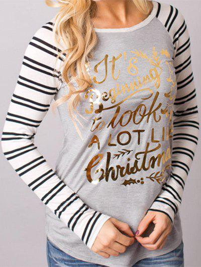 Christmas Striped Sleeve T-shirtWOMEN<br><br>Size: XL; Color: LIGHT GRAY; Material: Polyester; Shirt Length: Regular; Sleeve Length: Full; Collar: Round Neck; Style: Fashion; Pattern Type: Striped; Season: Fall; Weight: 0.3300kg; Package Contents: 1 x T-shirt;