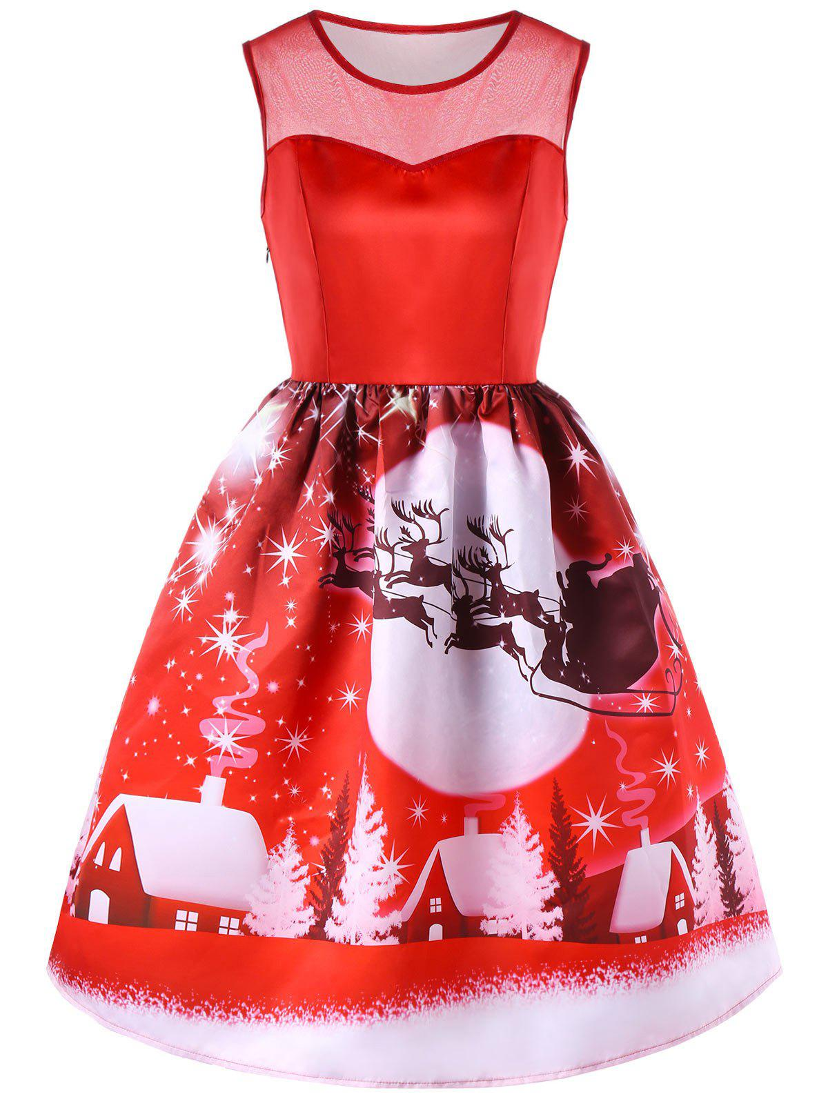 Christmas Printed Mesh Insert Sleeveless DressWOMEN<br><br>Size: L; Color: RED; Style: Vintage; Material: Polyester; Silhouette: Fit and Flare; Dresses Length: Mid-Calf; Neckline: Round Collar; Sleeve Length: Sleeveless; Pattern Type: Print; With Belt: No; Season: Fall,Spring; Weight: 0.3520kg; Package Contents: 1 x Dress;