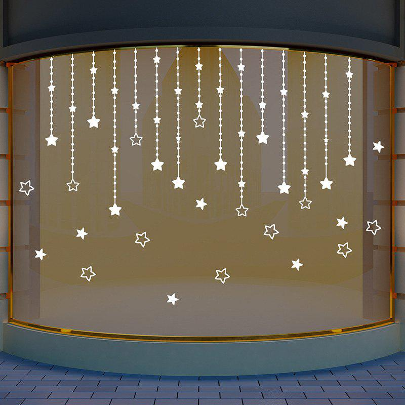 Star Pattern Glass Window Wall Decor StickerHOME<br><br>Size: 35*50CM; Color: WHITE; Wall Sticker Type: Plane Wall Stickers; Functions: Decorative Wall Stickers; Pattern Type: Star; Material: PVC; Feature: Removable; Weight: 0.0900kg; Package Contents: 1 x Wall Sticker;