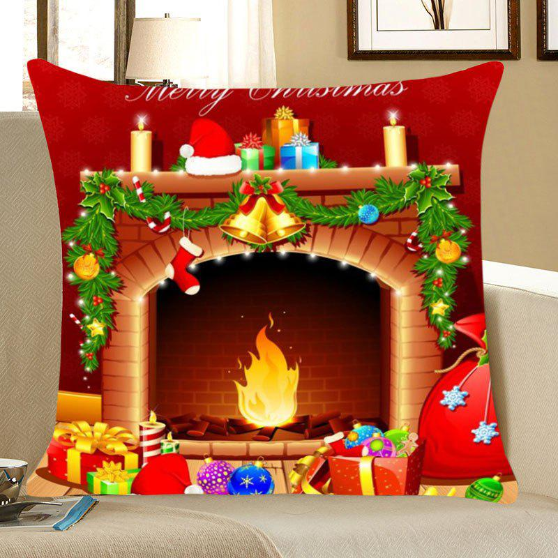 Christmas Fireplace Pattern Square Pillow CaseHOME<br><br>Size: W18 INCH * L18 INCH; Color: COLORFUL; Material: Linen; Pattern: Other; Style: Festival; Shape: Square; Weight: 0.0700kg; Package Contents: 1 x Pillow Case;