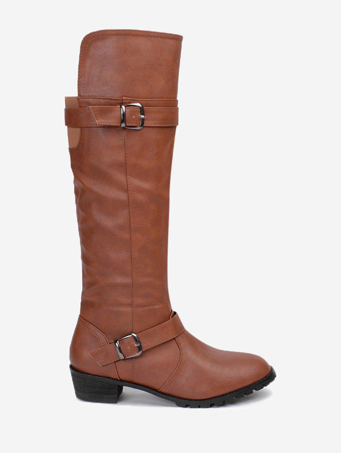 Hot Buckle Straps Low Heel Knee High Boots