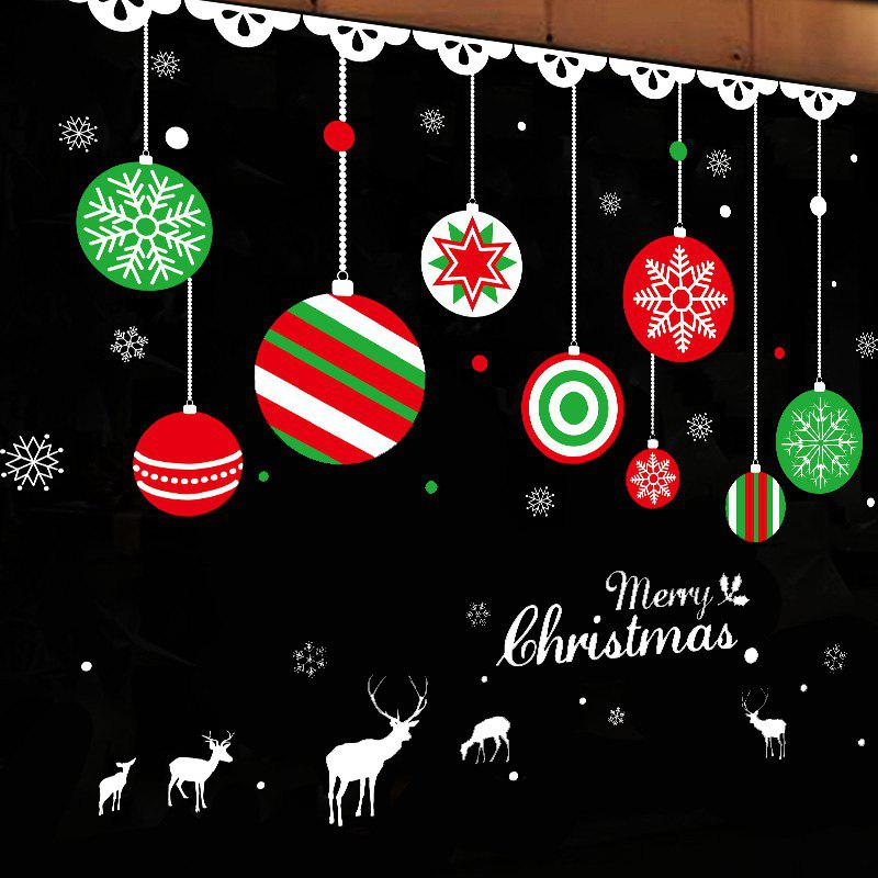 Christmas Balls Pattern Decorative Window Wall Art StickerHOME<br><br>Size: 50*70CM; Color: COLORMIX; Wall Sticker Type: Plane Wall Stickers; Functions: Decorative Wall Stickers; Theme: Christmas; Pattern Type: Ball; Material: PVC; Feature: Removable; Weight: 0.1274kg; Package Contents: 1 x Wall Sticker;