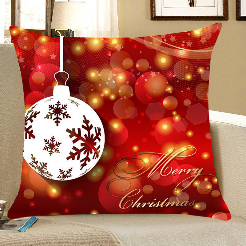 Christmas Baubles Pattern Decorative Pillow CaseHOME<br><br>Size: W18 INCH * L18 INCH; Color: RED; Material: Linen; Pattern: Baubles; Style: Festival; Shape: Square; Weight: 0.0700kg; Package Contents: 1 x Pillow Case;