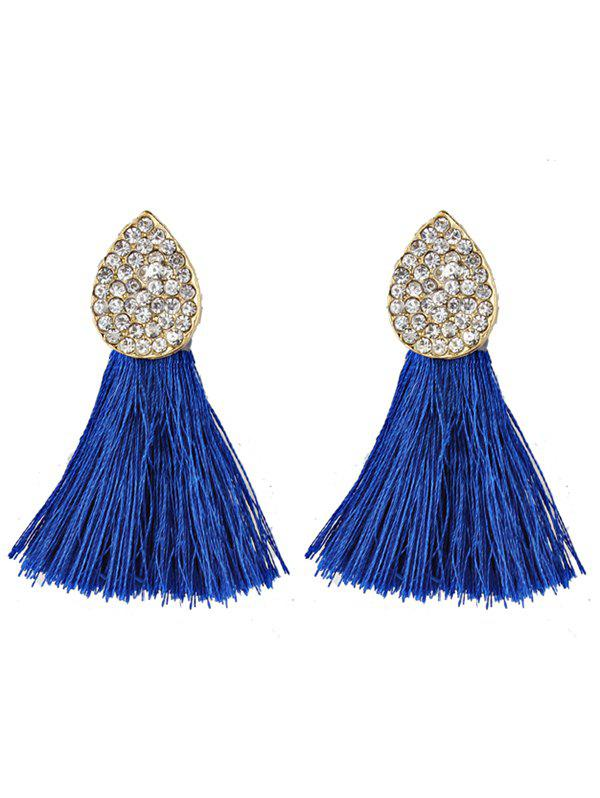 Vintage Water Drop Shape Rhinestone Embellished Tassel EarringsJEWELRY<br><br>Color: BLUE; Earring Type: Drop Earrings; Gender: For Girls,For Women; Material: Rhinestone; Metal Type: Others; Style: Trendy; Shape/Pattern: Tassel; Weight: 0.0220kg; Package Contents: 1 x Earring (Pair);