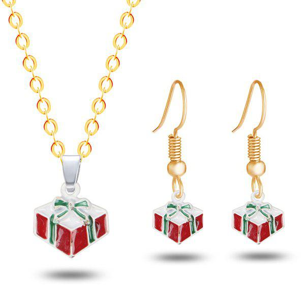 Bowknot Christmas Gift Necklace and EarringsJEWELRY<br><br>Color: GOLDEN; Item Type: Pendant Necklace; Gender: For Women; Necklace Type: Link Chain; Style: Trendy; Shape/Pattern: Bowknot; Length: 50CM (Necklace); Weight: 0.0300kg; Package Contents: 1 x Necklace 1 x Earring (Pair);