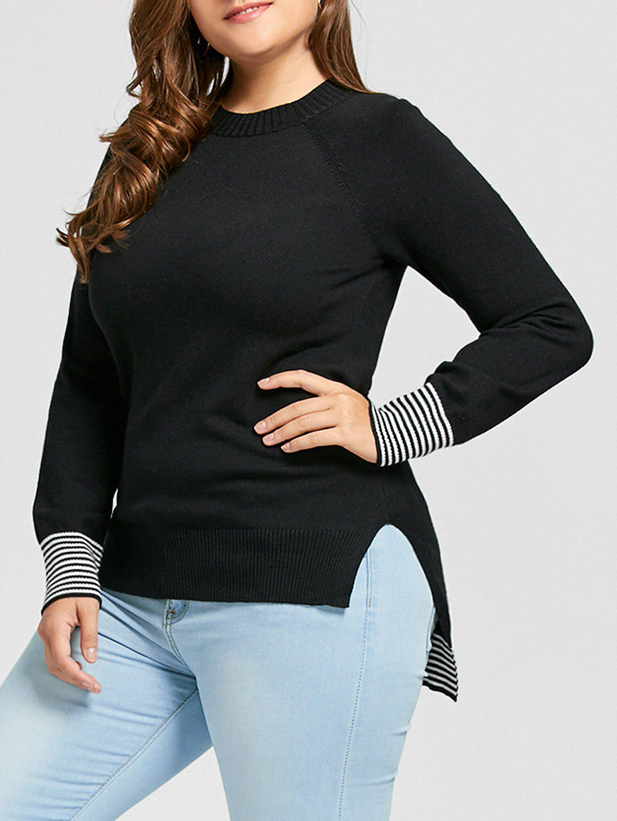 Latest Plus Size Striped High Low Sweater