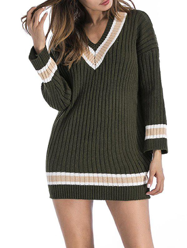Hot V Neck Ribbed Sweater Dress