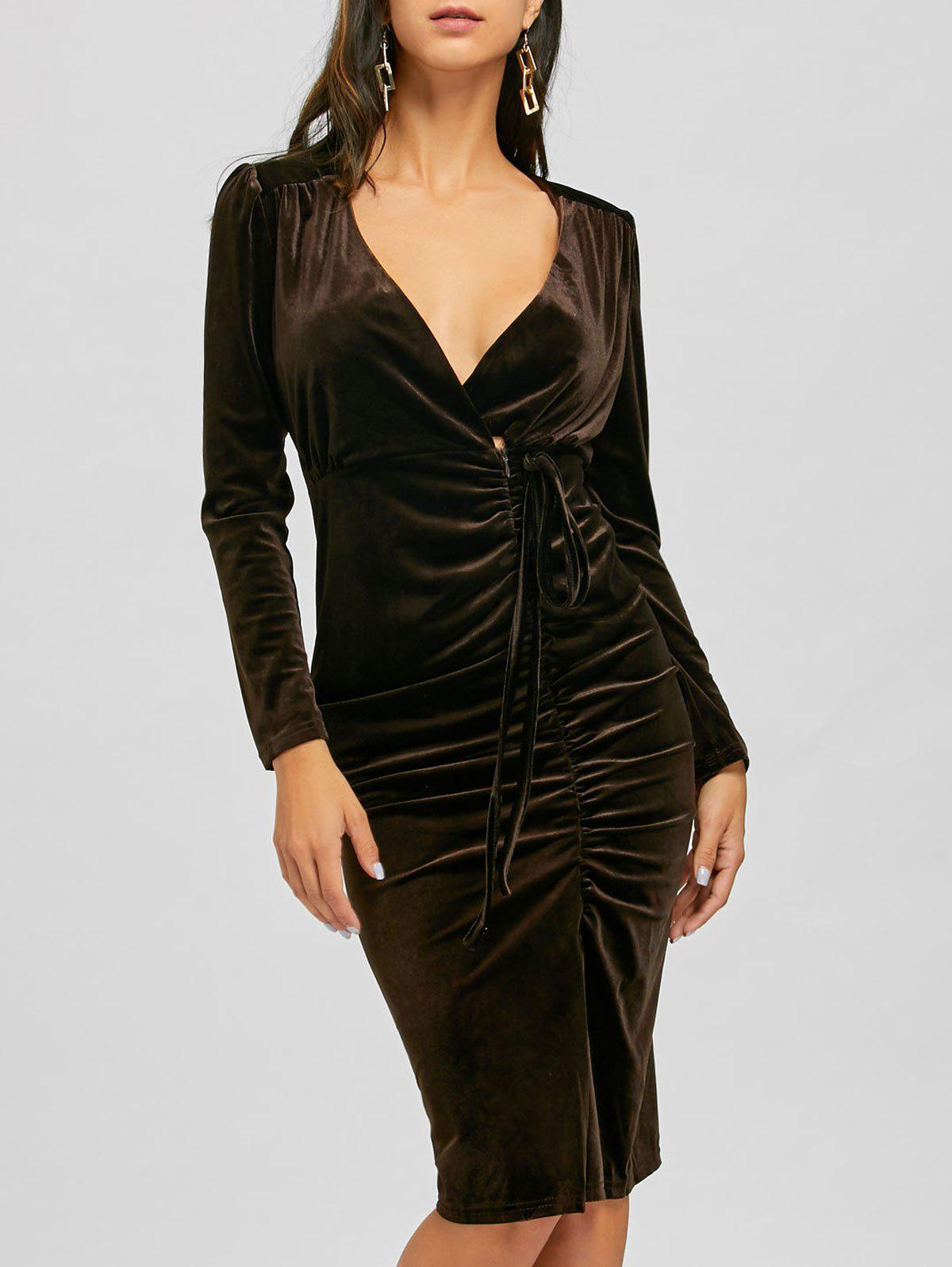 Affordable Long Sleeve Slit Ruched Velvet Bodycon Dress ee04506b7